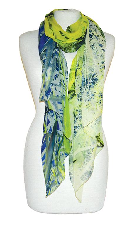 shawl Botanical green